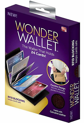 Wonder Wallet Amazing Slim RFID Wallets As Seen on TV Black Leather BRAND NEW