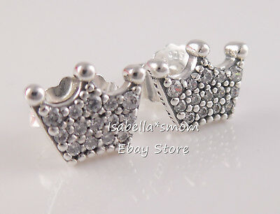 ENCHANTED CROWNS Authentic PANDORA Silver Earring Studs 297127CZ NEW w POUCH!