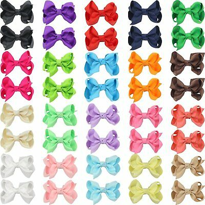 "QtGirl 40pcs 2.5"" Pigtail Mini Hair Bow Alligator Clips with Hairbows Holder for"