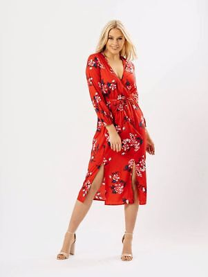 Cherry Red Floral Cross Over Midi Dress Sizes Uk 8, 10, 12, 14