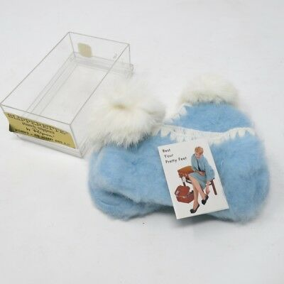 Vintage NOS Slipperette Pair Slippers Stretchy Blue by Ripon SZ 9 -11 In Box