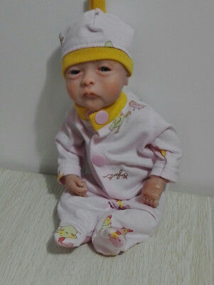 """pink girl baby doll sleeper  with hat for 10"""" -11"""" ooak"""