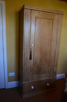 Antique Solid Pine Single Door Wardrobe. Genuine Victorian