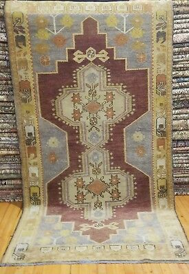 """Primitive  Antique Ca1900-1939s Muted Dyes 3'9""""×7'2"""" Wool Pile Oushak Rug"""