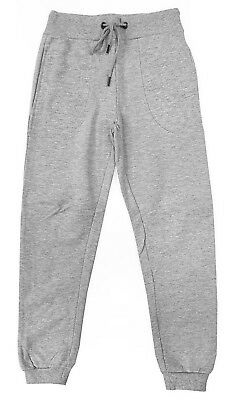 New Boy's Kid's Cotton Ribbed Cuff Grey Tracksuit Bottoms Sports Gym Joggers
