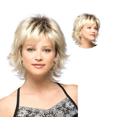Women Short Blonde Curly Hair Wavy Full Wig Synthetic Hair Cosplay Fancy Dress