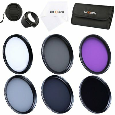 K&F Concept 52mm Silm UV CPL FLD ND2 ND4 ND8 Filter Kit Lens Hood Cap for Canon