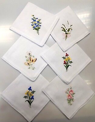 Ladies 6 pack Embroidered Handkerchiefs White with  Assorted Floral Embroideries