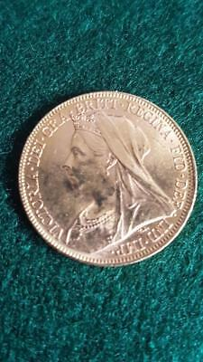 Queen Victoria Veiled Head 1899 English Full 22ct Gold Sovereign Coin