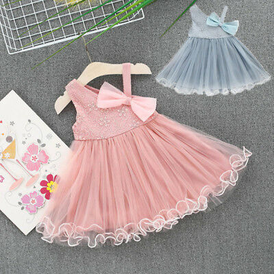 2018Summer Kids Baby Girl Dress Floral Lace Sundress Princess Party Beach Dress