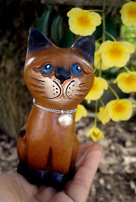 Hand Carved Wooden Cat Figurine Crafted Wood Kitty Kitten sit decor gift folk