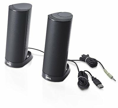 Computer Speaker USB Stereo System Desktop Laptop PC Multimedia Dell AX210 Black