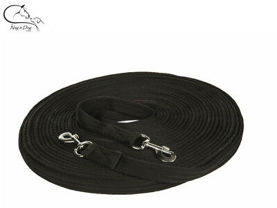 HKM Double Lunge Line Long Reins 2x9m Polyester Web Black FREE DELIVERY