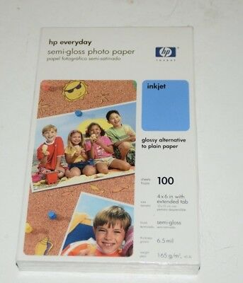 "HP Everyday Semi-Gloss Photo Paper 100 sheets 4x6"" Inkjet 6.5mil Tab Genuine"
