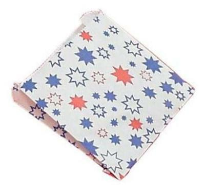 "100 x Greaseproof Paper Bags 6"" x 4"" x 4""  Food Bag Chips Stars Gusset Bags 32G0"