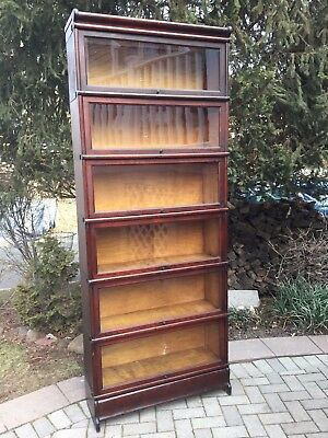 Antique Macey 6 Stack Barrister Bookcase Mahogany finish Wavy glass