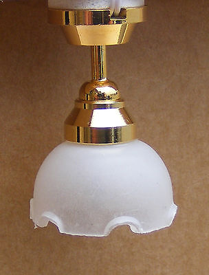 1:12 Scale Working Tumdee Dolls House Ceiling Light With A Fluted Shade 4001