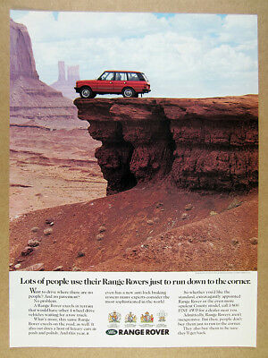 1990 Range Rover Classic desert mountains color photo vintage print Ad