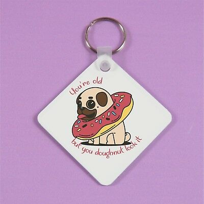 PERSONALISED Pug Keyring BIRTHDAY Pug Key Chain DOUBLE SIDED MADE To Order