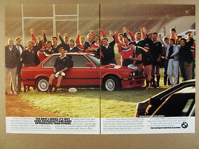 1989 BMW E30 325is Coupe red car rugby team photo vintage print Ad