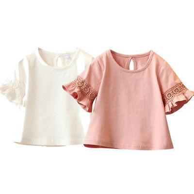 Toddler Baby Kids Girls Flare trumpet Sleeve Lace T-Shirt Solid Tops Blouse Uk