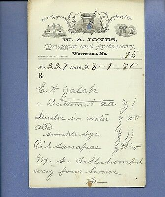 1870 WA Jones Druggist Apothecary Warrenton Missouri Prescription Receipt No 227