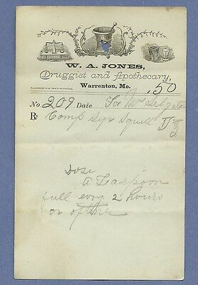 1870 WA Jones Druggist Apothecary Warrenton Missouri Prescription Receipt No 209