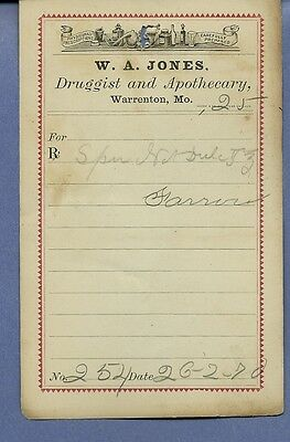 1870 WA Jones Druggist Apothecary Warrenton Missouri Prescription Receipt No 254