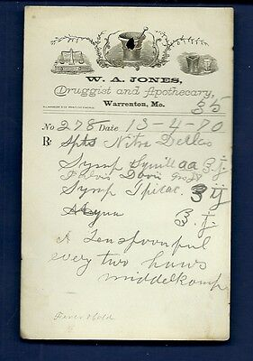 1870 WA Jones Druggist Apothecary Warrenton Missouri Prescription Receipt No 278