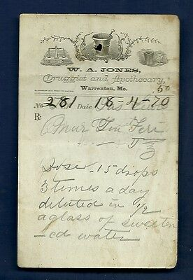 1870 WA Jones Druggist Apothecary Warrenton Missouri Prescription Receipt No 281
