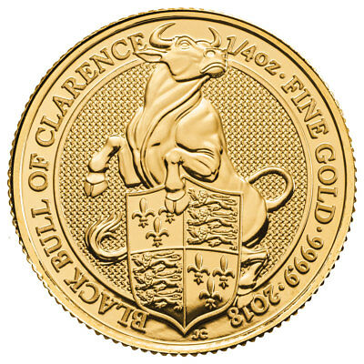 2018 G Britain 1/4 oz Gold Queen's Beasts Black Bull of Clarence £25 BU SKU52873