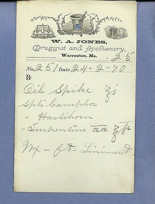 1870 WA Jones Druggist Apothecary Warrenton Missouri Prescription Receipt No 251