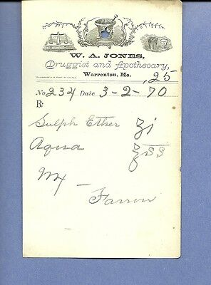 1870 WA Jones Druggist Apothecary Warrenton Missouri Prescription Receipt No 234