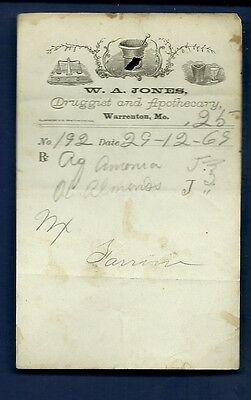 1869 WA Jones Druggist Apothecary Warrenton Missouri Prescription Receipt No 192