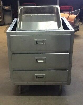 Commercial Stainless Steel three drawer with removable pans base cabinet.