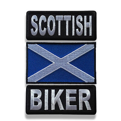"Embroidered 3"" Scottish Biker With Scotland Flag Iron on Patch Biker Patch Set"