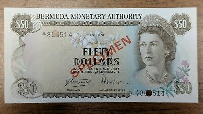 BERMUDA Monetary Authority SPECIMEN  50 DOLLARS  1978 PICK # CS1 GEM CU note