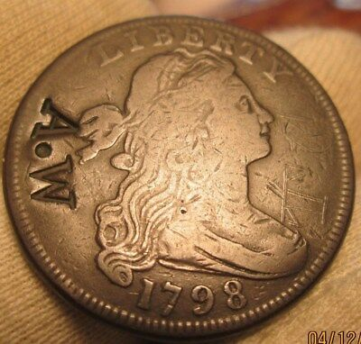1798 Large Cent  counterstamped  A.W