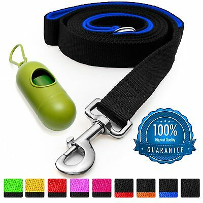 STRONG DOG LEASH 100% Nylon 6 Ft. Long Thick Padded Dual Handles Blue