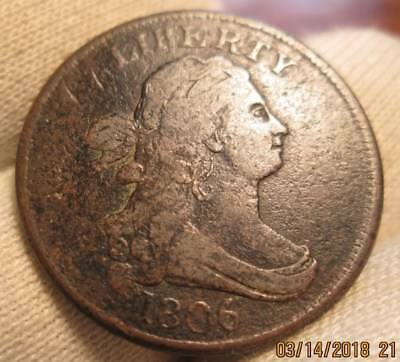 1806 half cent  small 6 with stems  rare!!!!