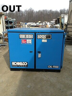 Kobelco KNW0-DL 75HP Two-Stage Oil Free Rotary Screw Air Compressor 64583 Hours