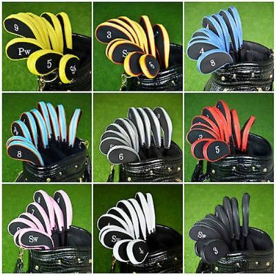 High Quality 10pcs Padded Golf Club Iron Head Covers Protector Case Sock Set