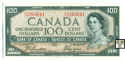 Canada 1954 Bank of Canada 100$ Bank note (A/J2295041) Devil VF/XF Pressed(OOAK)