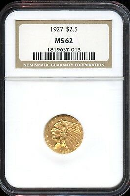 Beautiful 1927 NGC MS 62 Indian Head $2.50 Gold Coin EG368
