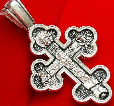 Christian Save and Protect Prayer Crucifix. Silver 925. Russian Orthodox ! SALE