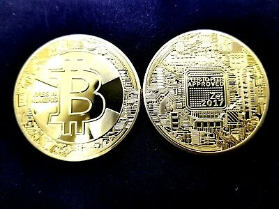 Bitcoin Gold Plated Physical Commemorative Bitcoin In Protective Acrylic Case US