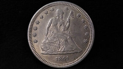 1861 Seated Liberty Quarter Dollar **GREAT DETAILS, GREAT COIN!**