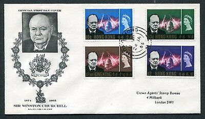 1966 China Hong Kong GB QEII Churchill set Stamps on  FDC to Crown Agents GB UK