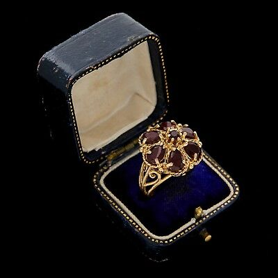 Antique Vintage Art Deco 14k Gold Bohemian Garnet Filigree Cluster Ring Sz 6.75