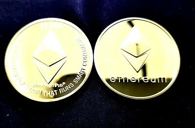 ethereum ETH Gold Plated Physical Commemorative In Protective Acrylic Case US